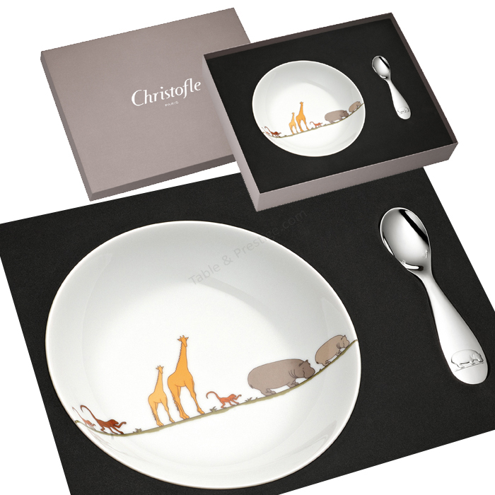 coffret assiette bouillie et cuiller b b savane christofle cadeau naissance 07754010. Black Bedroom Furniture Sets. Home Design Ideas